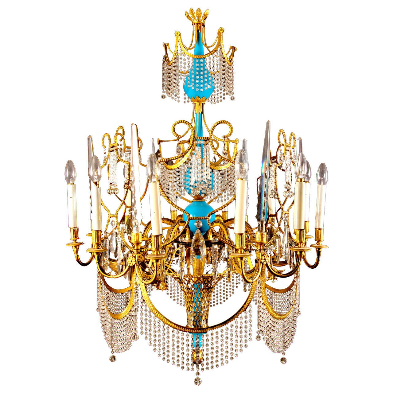 Russian ormolu, cut glass and blue porcelain Empire style antique chandelier  For Sale - Russian Ormolu, Cut Glass And Blue Porcelain Empire Style Antique