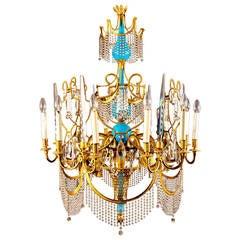 Russian ormolu, cut glass and blue porcelain Empire style antique chandelier