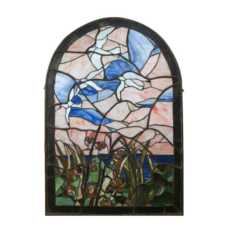 A Pair Of Tiffany Style Stained Glass Windows For Sale At