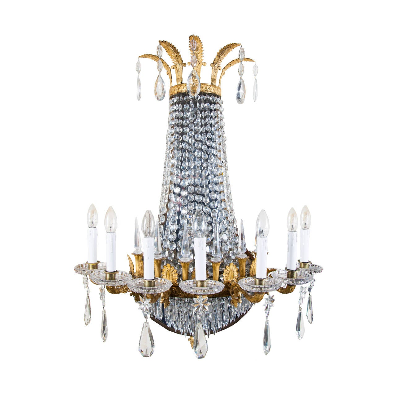 A Pair Of Empire Style Ormolu And Cut Glass Wall Lights