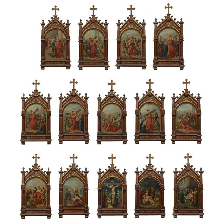 Set Of 14 Paintings Of The Stations Of The Cross At 1stdibs