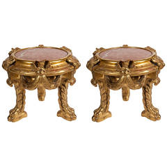 Pair of Giltwood Urn Stands with Pink Marble Tops