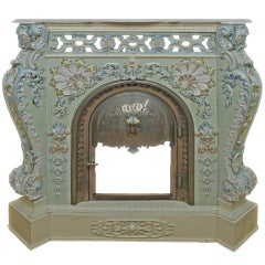 Villeroy & Boch Ceramic Porcelain Fireplace with a Marble Top