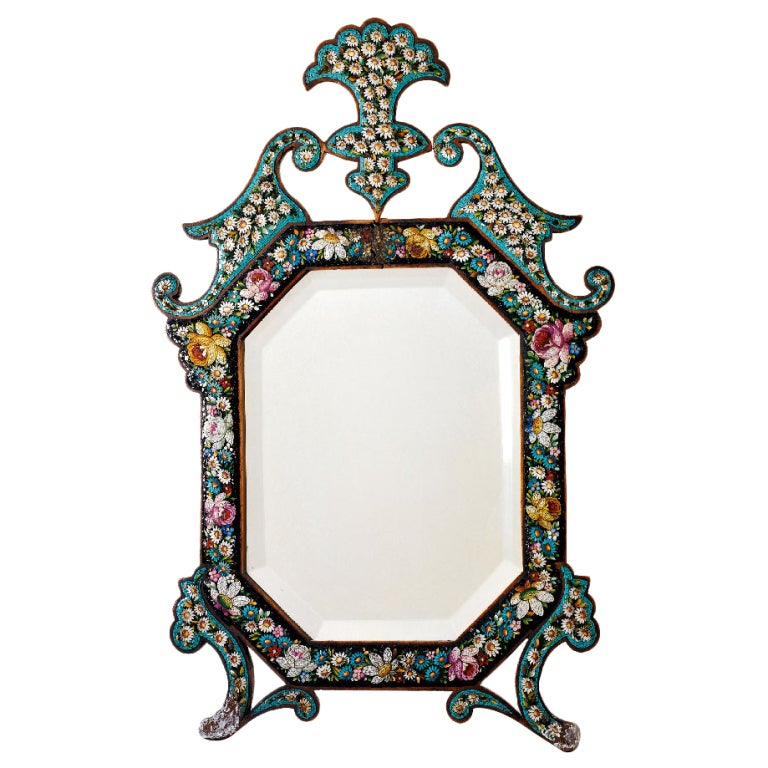 Octagonal Mosaic Table Mirror For Sale