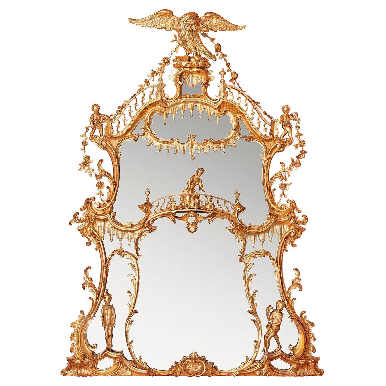 Large William IV period English gilt wood over-mantle mirror after Chippendale 1