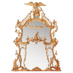 Monumental William IV Period Giltwood Overmantel Mirror After Chippendale