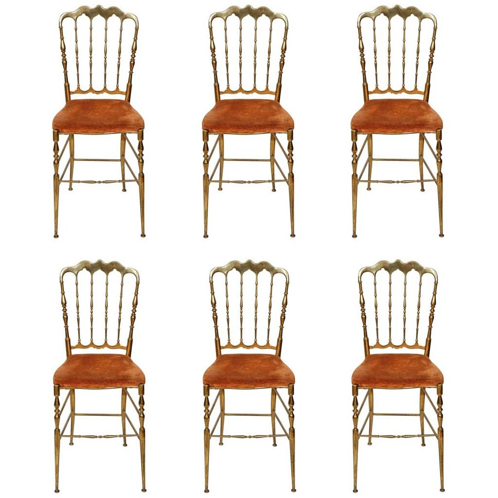 Set Of Six Brass Spindle Back Antique Chiavari Dining Chairs For Sale At 1stdibs