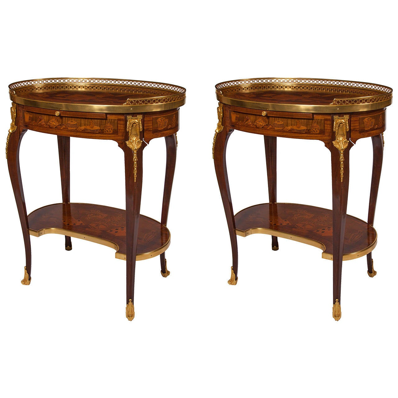 Fine pair of ormolu mounted marquetry side tables for sale