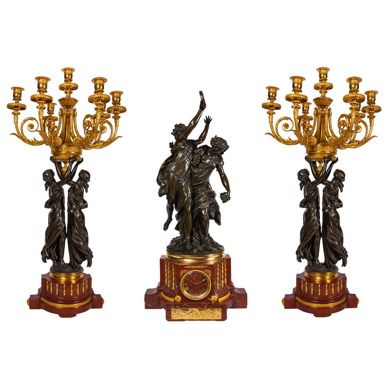Large Sculptural Gilt and Patinated Bronze Clock Set by Jules Graux For Sale