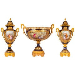 Three-Piece Ormolu-Mounted Sevres Style Porcelain Garniture