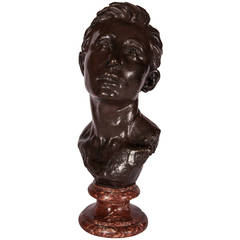 Patinated Bronze Bust of a Young Man by Aimé Jules Dalou