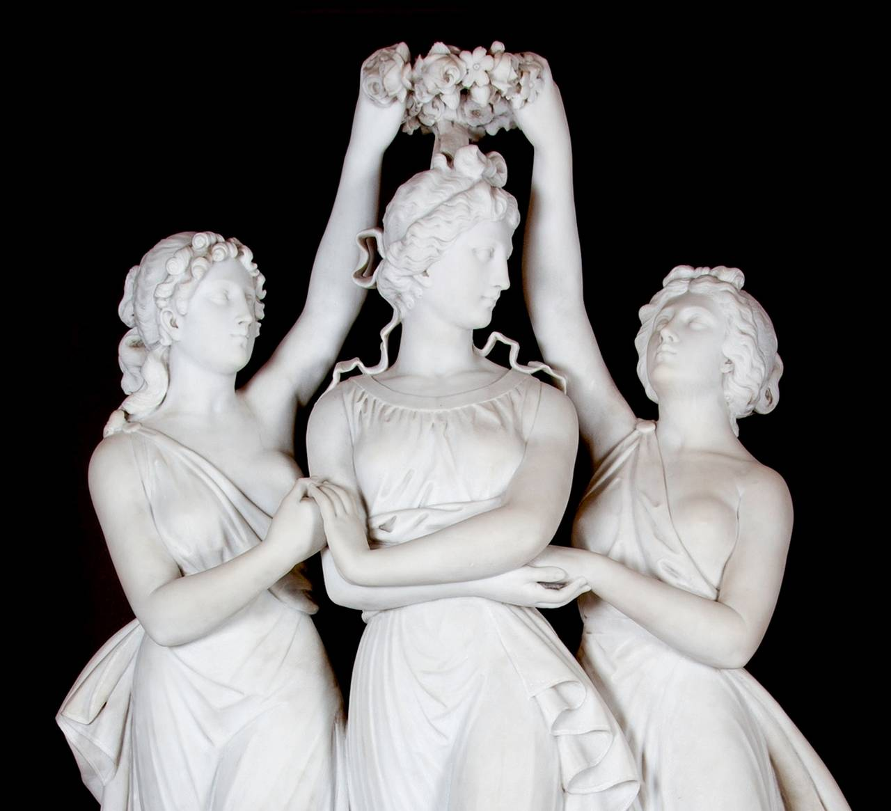 Neoclassical Marble Sculpture of the Three Graces Crowning Venus by Antonio Frilli