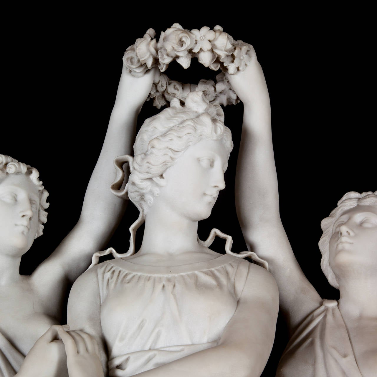 Italian Marble Sculpture of the Three Graces Crowning Venus by Antonio Frilli