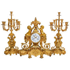 Large Napoleon III Period Ormolu, Three-Piece Clock Set