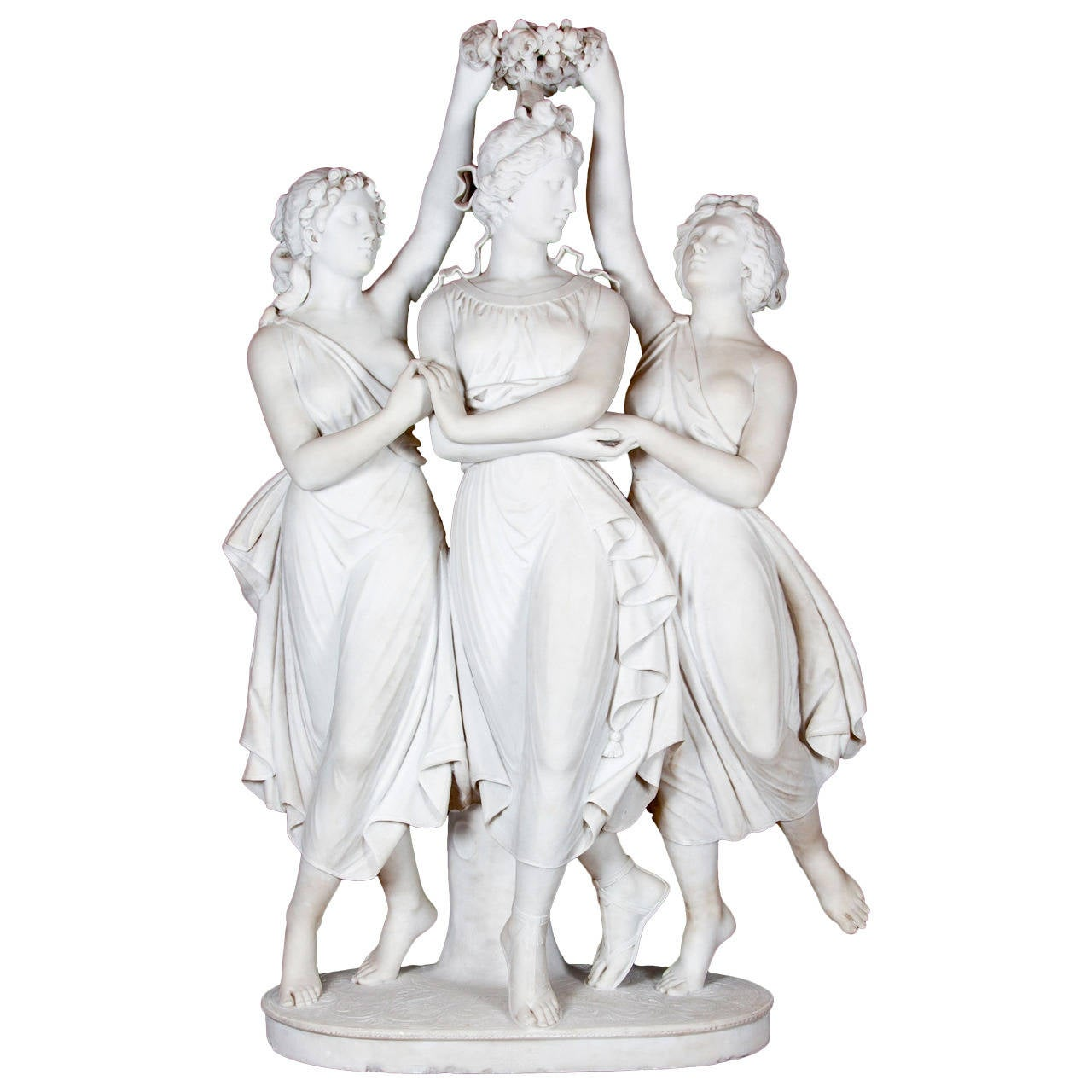 Marble Sculpture of the Three Graces Crowning Venus by Antonio Frilli