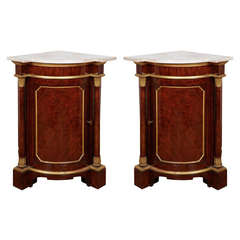 Pair of Royal Yew-Wood Parcel-Gilt Corner Cabinets from Windsor Castle