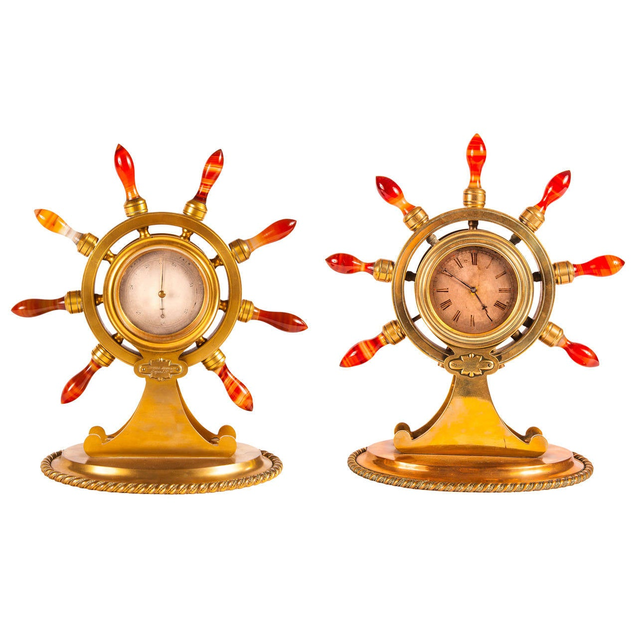 Victorian Ormolu Clock and Barometer Desk Set, of Maritime or Naval Interest