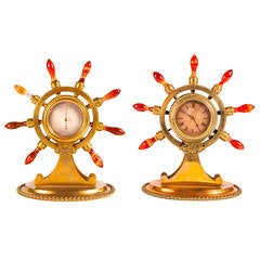 Victorian Ormolu Clock and Barometer Desk Set, of Maritime or Naval Interest