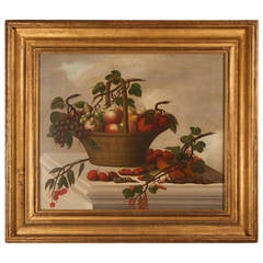 Old Master Still Life Painting of a Basket of Fruit