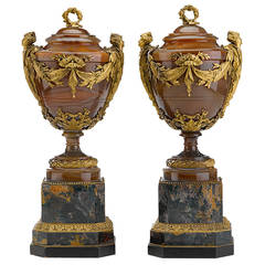 Fine and Important Pair of Ormolu Mounted Agate and Jasper Vases