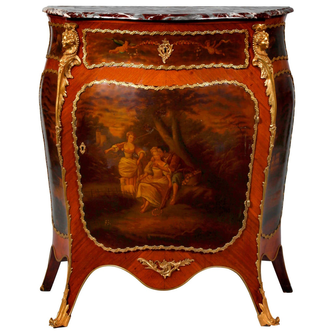 Louis XV Style Ormolu-Mounted Kingwood Vernis Martin Side Cabinet