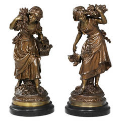 Pair of Bronzed Female Figures Carrying Grain and Fowl by Auguste Moreau