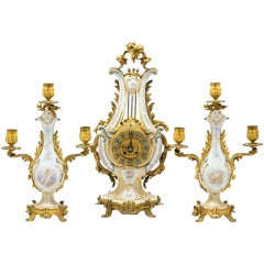 Sevres Style Ormolu-Mounted Porcelain Clock Set