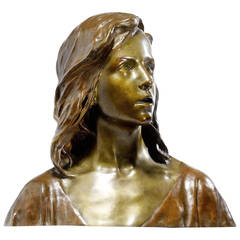 Art Nouveau Period Patinated Bronze Bust of Jesus Christ by F.R. Larche