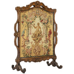 Fine Régence Period Carved Wood and Beauvais Tapestry Firescreen