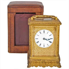 Finely Engraved Ormolu Carriage Clock by Bright
