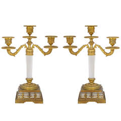 Fine Pair of Empire Period Ormolu and Crystal Three-Light Candelabra