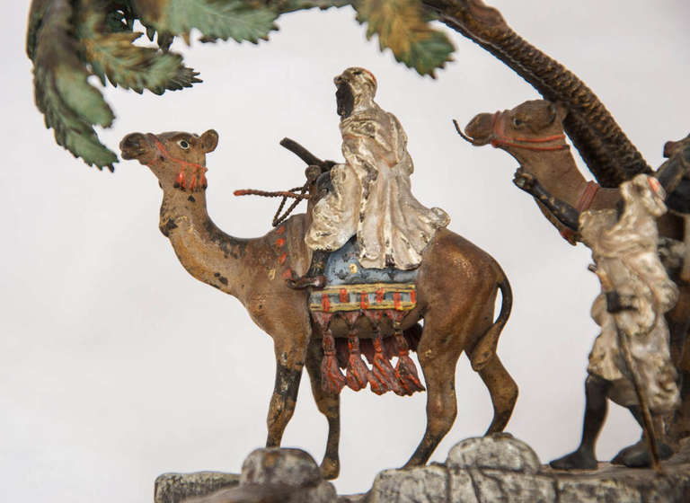 Austrian Orientalist Viennese Cold Painted Bronze Group For Sale