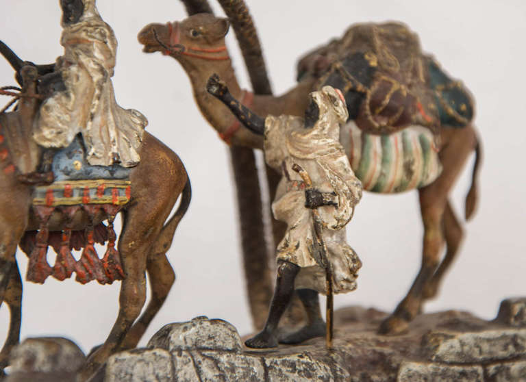 Cold-Painted Orientalist Viennese Cold Painted Bronze Group For Sale