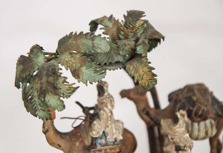 Orientalist Viennese Cold Painted Bronze Group In Good Condition For Sale In London, GB