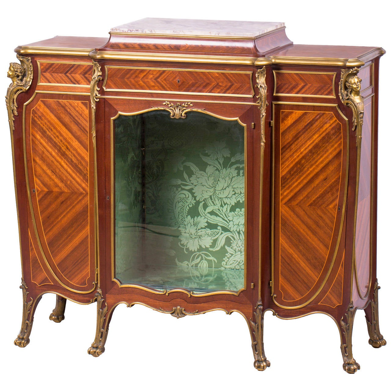 Ormolu mounted satin and mahogany vitrine cabinet by for Sideboard vitrine