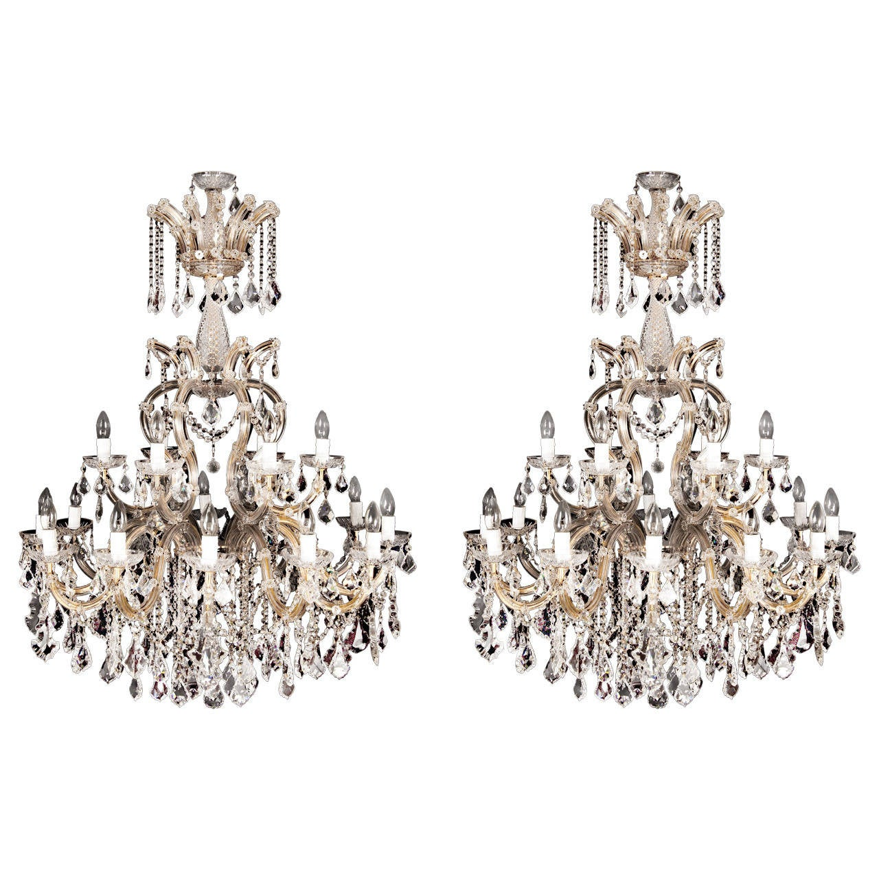 Pair Of Cut Glass Chandeliers At 1stdibs