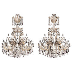 Pair of Bohemians cut glass and gilt bronze Belle Époque style chandeliers