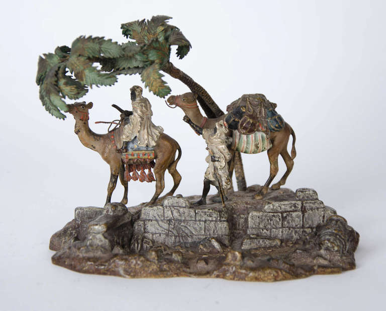 20th Century Orientalist Viennese Cold Painted Bronze Group For Sale