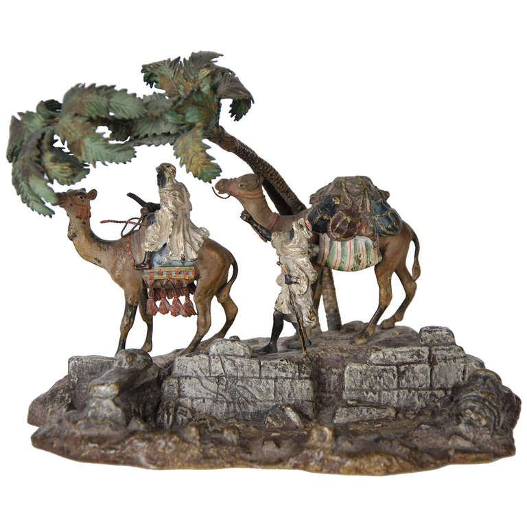 Orientalist Viennese Cold Painted Bronze Group For Sale