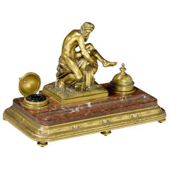 Red and White Veined Marble Mounted Ormolu Inkstand by Barbedienne