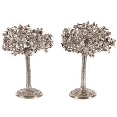 Fine Pair of Silver Models of Trees