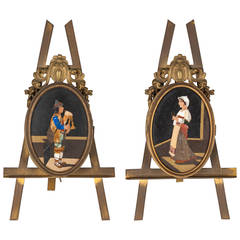 Pair of Florentine Ormolu and Pietra Dura Opening Picture Frames
