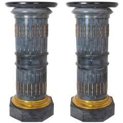 Pair of Ormolu-Mounted Black Marble Pedestals