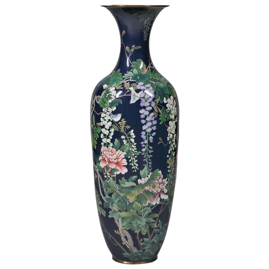 Large Meiji Period Cloisonne Enamel Vase