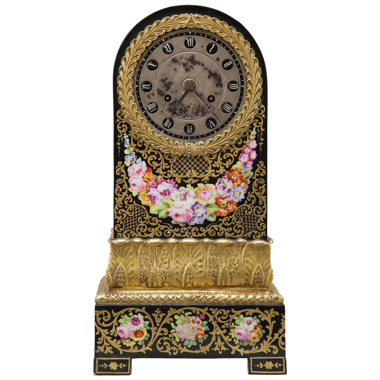 Charles X Period Ormolu Mounted Jacob Petit Porcelain Mantel Clock