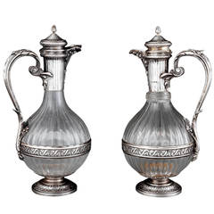 Near Pair of Silver Mounted Crystal Claret Jugs by Boin-Taburet, Paris