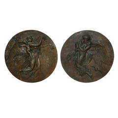 Large and Impressive Pair of Circular, Patinated Bronze Relief Plaques