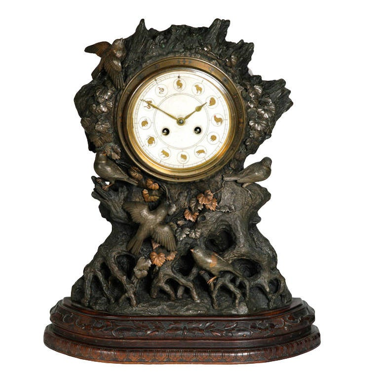 Fine And Very Unusual Patinated Bronze Mantel Clock For
