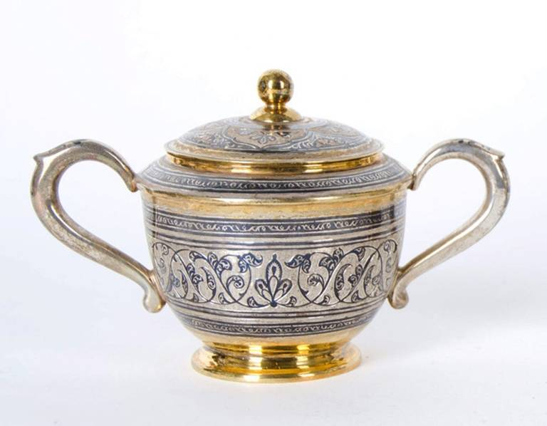 Antique Russian Tula silver gilt service In Good Condition For Sale In London, GB