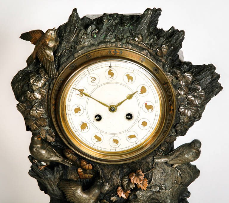 Fine and very unusual patinated bronze mantel clock for Unique clocks for sale